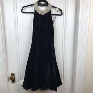 Dresses & Skirts - Vintage black velvet tulle halter dress pearl midi